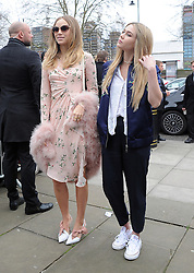 Suki Waterhouse and Immy Waterhouse attend the Topshop Unique show during London Fashion Week Autumn/Winter 2016/17 in London, UK. 21/02/2016<br />