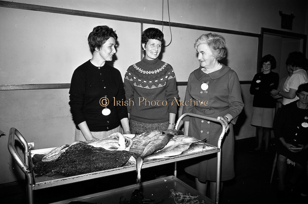 15/11/1966<br /> 11/15/1966<br /> 15 November 1966<br /> Fish Scholarship course at I.C.A. at An Grianan, Termonfeckin, Co. Louth, organised by Bord Iascaigh Mhara. The delegates from I.C.A. Guilds around the country were given a course in fish cookery and lectures and demonstration techniques to impart to their Guilds. Picture shows (l-r): Mrs. Phyllis Boyle, Co. Donegal; Mrs. Sweeney, Ballyshannon, Co. Donegal and Mrs. Marie Friel, Derrybeg, Co. Donegal.