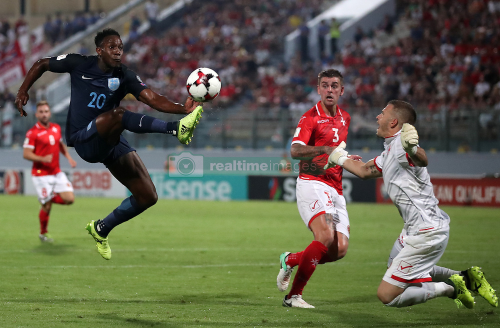 England's Danny Welbeck scores his side's third goal of the game during the 2018 FIFA World Cup Qualifying, Group F match at the National Stadium, Ta' Qali. PRESS ASSOCIATION Photo. Picture date: Friday September 1, 2017. See PA story SOCCER Malta. Photo credit should read: Nick Potts/PA Wire. RESTRICTIONS: Use subject to FA restrictions. Editorial use only. Commercial use only with prior written consent of the FA. No editing except cropping.