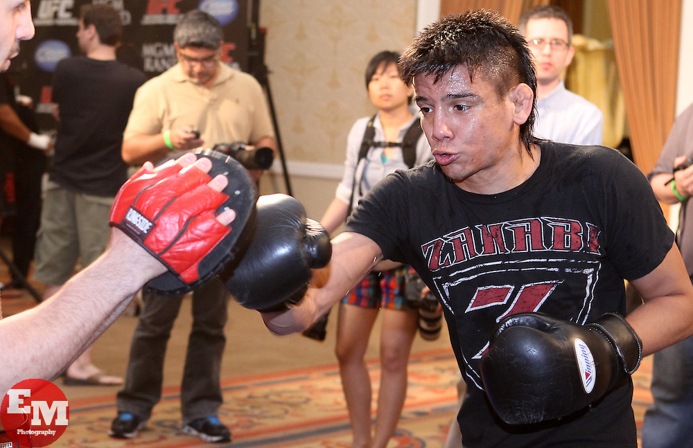 May 26, 2011; Miguel Torres works out for the media in preparation for UFC 130 at the MGM Grand in Las Vegas, NV.