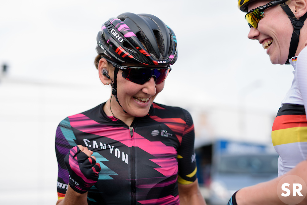 Lisa Brennauer (CANYON//SRAM Racing) celebrates the win at the 116 km Stage 5 of the Boels Ladies Tour 2016 on 3rd September 2016 in Tiel, Netherlands. (Photo by Sean Robinson/Velofocus).