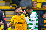 Christopher Jullien (#2) of Celtic FC remonstrates with Ricki Lamie (#5) of Livingston FC during the Ladbrokes Scottish Premiership match between Livingston FC and Celtic FC at The Tony Macaroni Arena, Livingston, Scotland on 6 October 2019.