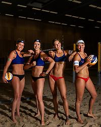 02-07-2018 NED: EC Beach teams Netherlands, The Hague<br /> (L-R) Sanne Keizer NED, Madelein Meppelink NED, Joy Stubbe NED en Marleen van Iersel NED