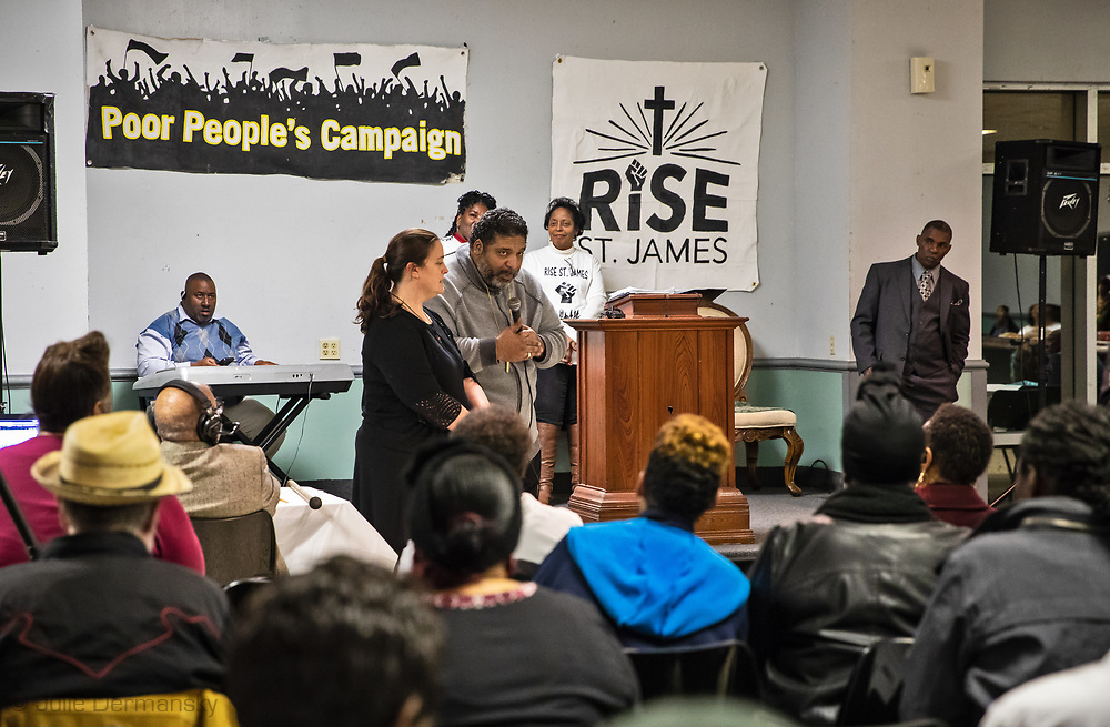 The Rev. Dr. William Barber at a RISE St James rivial tent event.