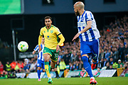 Norwich City midfielder Josh Murphy (31) chases the ball down during the EFL Sky Bet Championship match between Norwich City and Brighton and Hove Albion at Carrow Road, Norwich, England on 21 April 2017. Photo by Simon Davies.
