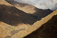 One of the small villages carefully placed in the slopes of the High Atlas Mountains.
