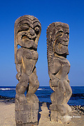 tikis at Pu'uhonua o Honaunau, Place of Refuge, Hawaii, Big Island of Hawaii, USA ( Central Pacific )