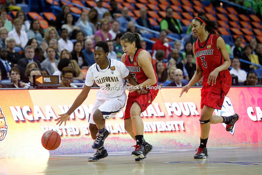 April 7, 2013; New Orleans, LA, USA; California Golden Bears guard Afure Jemerigbe (2) dribbles against Louisville Cardinals guard Shoni Schimmel (23) and center Sheronne Vails (3) during the first half in the semifinals during the 2013 NCAA womens Final Four at the New Orleans Arena. Mandatory Credit: Derick E. Hingle-USA TODAY Sports
