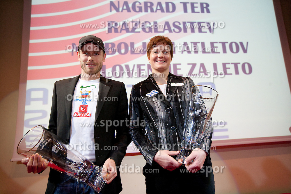 Bostjan Buc and Martina Ratej pose with their Athlete of the Year Award during the Slovenia's Athlete awards ceremony by Slovenian Athletics Federation AZS, on November 12, 2008 in Hotel Mons, Ljubljana, Slovenia.(Photo By Vid Ponikvar / Sportida.com) , on November 12, 2010.
