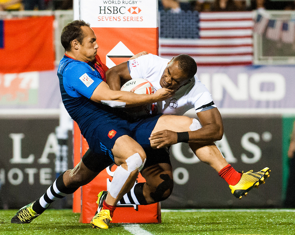Fiji play France during the pool stage of the 2016 USA Sevens leg of the HSBC Sevens World Series at Sam Boyd Stadium  Las Vegas, Nevada. March 4, 2016.<br /> <br /> Jack Megaw for USA Sevens.<br /> <br /> www.jackmegaw.com<br /> <br /> 610.764.3094<br /> jack@jackmegaw.com