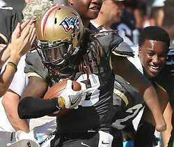 File photo - UCF linebacker Shaquem Griffin celebrates on the sidelines after a turnover against Cincinnati at Bright House Networks Stadium in Orlando, Fla., on Saturday, Nov. 12, 2016. UCF won, 24-3. The 22-year-old linebacker from the University of Central Florida has become the first one-handed player to be drafted into the NFL on Saturday (April 28) at the 2018 NFL Draft at the AT&T Stadium in Arlington, TX, USA. Photo by Stephen M. Dowell/Orlando Sentinel/TNS/ABACAPRESS.COM
