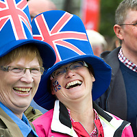 Queen's Diamond Jubilee Celebrations, Perth...02.06.12<br /> Elke Paulson and Tina Doerner from Perth's twin city of Aschaffenberg in Germany<br /> Picture by Graeme Hart.<br /> Copyright Perthshire Picture Agency<br /> Tel: 01738 623350  Mobile: 07990 594431