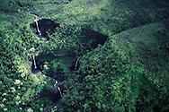 Hawaii. Waterfalls in Kauai, Aerials