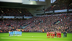 27.11.2011, Anfield Stadion, Liverpool, ENG, PL, FC Liverpool vs Manchester City, 13. Spieltag, im Bild Liverpool and Manchester City players stand still for one minute in memory of Liverpool's goalkeeper Brad Jones' son, Luca, and Wales manager Gary Speed, who died this morning, before the football match of English premier league, 13th round, between FC Liverpool and Manchester City at Anfield Stadium, Liverpool, United Kingdom on 2011/11/27. EXPA Pictures © 2011, PhotoCredit: EXPA/ Sportida/ David Rawcliff..***** ATTENTION - OUT OF ENG, GBR, UK *****