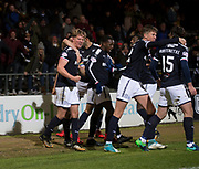 24th November 2017, Dens Park, Dundee, Scotland; Scottish Premier League football, Dundee versus Rangers; Dundee's Mark O'Hara is congratulated after scoring for 1-0
