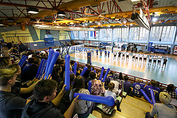 The fans and players during volleyball match between Calcit Volley and Salonit Anhovo in Semifinal of Slovenian League 2017/18, on April 14, 2018 in Sportna Dvorana, Kamnik, Slovenia. Slovenia. Photo by Matic Klansek Velej / Sportida