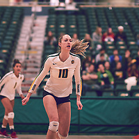 3rd year middle blocker, Brooklyn Reynolds (10) of the Regina Cougars during the Women's Volleyball home game on Thu Nov 15 at Centre for Kinesiology, Health & Sport. Credit: Arthur Ward/Arthur Images