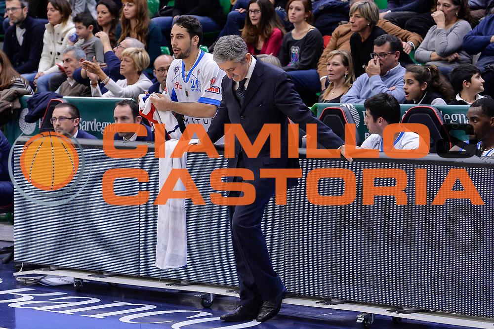 DESCRIZIONE : Campionato 2015/16 Serie A Beko Dinamo Banco di Sardegna Sassari - Dolomiti Energia Trento<br /> GIOCATORE : Marco Calvani<br /> CATEGORIA : Allenatore Coach Ritratto Delusione<br /> SQUADRA : Dinamo Banco di Sardegna Sassari<br /> EVENTO : LegaBasket Serie A Beko 2015/2016<br /> GARA : Dinamo Banco di Sardegna Sassari - Dolomiti Energia Trento<br /> DATA : 06/12/2015<br /> SPORT : Pallacanestro <br /> AUTORE : Agenzia Ciamillo-Castoria/L.Canu