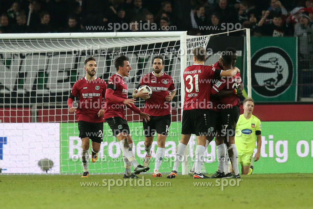 02.12.2016, HDI Arena, Hamburg, GER, 2. FBL, Hannover 96 vs 1. FC Heidenheim, 15. Runde, im Bild Martin Harnik ( Hannover 96 #14 ) jubelt nach dem 1:1 // during the 2nd German Bundesliga 15th round match between Hannover 96 and 1. FC Heidenheim at the HDI Arena in Hamburg, Germany on 2016/12/02. EXPA Pictures &copy; 2016, PhotoCredit: EXPA/ Eibner-Pressefoto/ Langer<br /> <br /> *****ATTENTION - OUT of GER*****