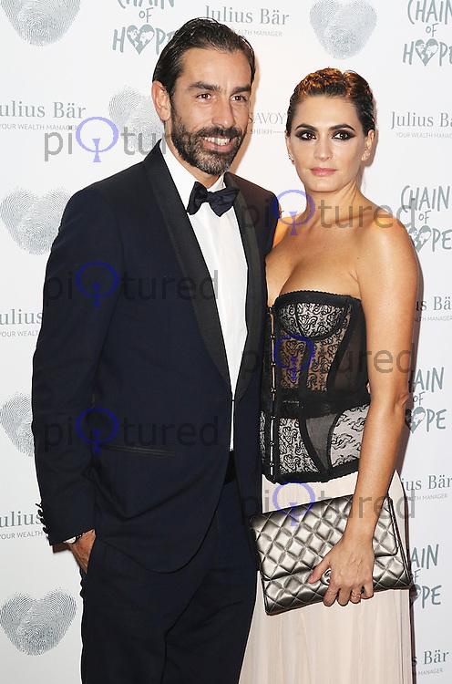 Robert Pires & Jessica Lemaire Pires, Chain of Hope Gala Ball, Grosvenor House, London UK, 20 November 2015, Photo by Brett D. Cove