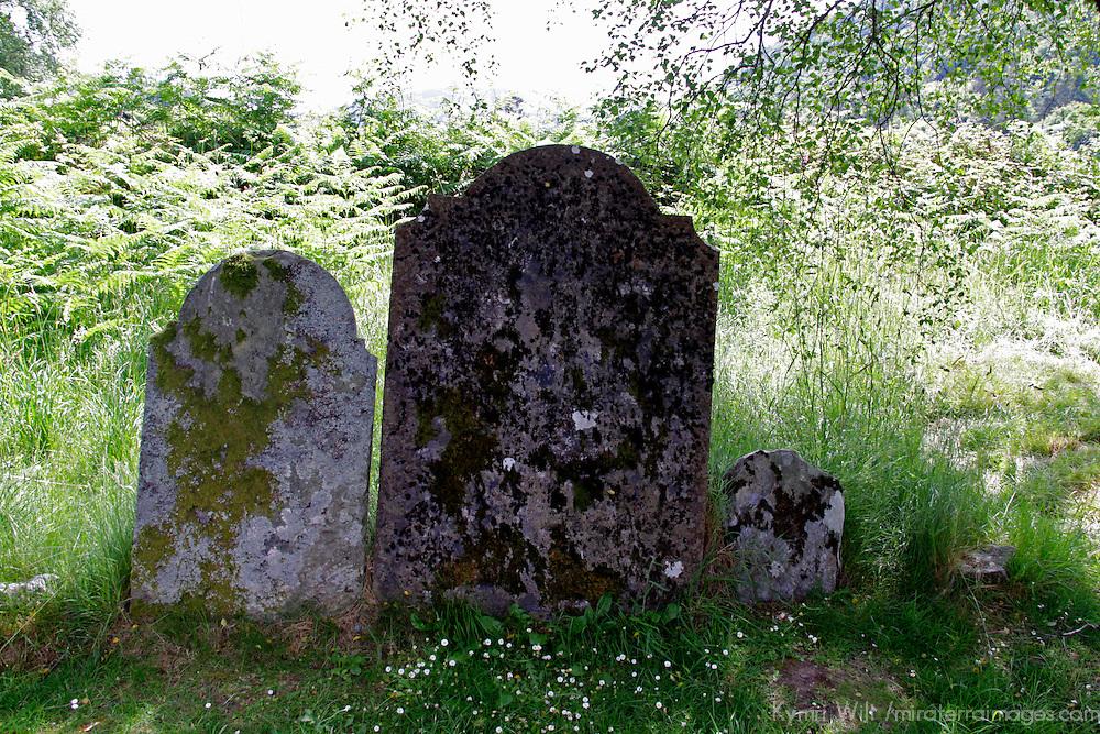 Europe, Ireland, Glendalough. Three graves.
