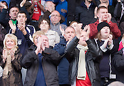 Former Dens owner Peter Marr (centre) joins in the standing ovation for Dundee at full time - Stirling Albion v Dundee, IRN BRU Scottish League 1st Division, Forthbank Stadium, Stirling<br /> <br />  - &copy; David Young<br /> ---<br /> email: david@davidyoungphoto.co.uk<br /> http://www.davidyoungphoto.co.uk