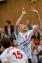 12-05-2017 NED: Nederland - Tsjechië, Amstelveen<br /> De Nederlandse volleybal mannen spelen hun eerste oefeninterland in de Emergohal in Amstelveen tegen Tsjechië. Deze wedstrijd staat in het teken van de verplaatsing van het Bankrasmomument. Nederland speelde daarom in speciale oude Nederlandse shirts uit 1992 / Wessel Keemink #2