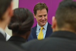 © Licensed to London News Pictures. 27/02/2014. London, UK . Nick Clegg meets students. Deputy Prime Minister and Leader of the Liberal Democrats Nick Clegg delivers a speech today, 27th February 2014, on how all young people will be helped to succeed after leaving school. He was speaking to over 500 students at Southfields Academy in South West London. Photo credit : Stephen Simpson/LNP