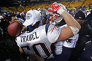 PITTSBURGH - JANUARY 23:  Linebacker Mike Vrabel #50 of the New England Patriots celebrates with quarterback Tom Brady #12 after the Pats win over the Pittsburgh Steelers in the AFC Championship game at Heinz Field on January 23, 2005 in Pittsburgh, Pennsylvania. The Pats defeated the Steelers 41-27. ©Paul Anthony Spinelli  *** Local Caption *** Mike Vrabel; Tom Brady