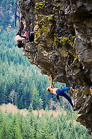 Tim McGuire photographing Brian Cullen rock climbing at Northfork, a climbing crag up the north fork of the Snoqualmie river.