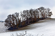 wintry rural landscape with snow on the ground France Languedoc Aude