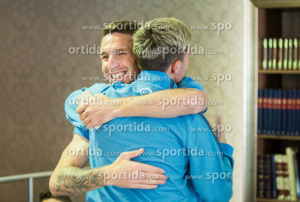 Rajko Rotman and Kevin Kampl at Slovenia team gathering before friendly football match against National teams of Sweden and Turkey, on May 23, 2016 in Hotel Kokra, Brdo pri Kranju, Slovenia. Photo by Vid Ponikvar / Sportida