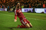 David Nugent (Middlesbrough) celebrates scoring the winning goal in the 90+1 minute. 1-0 during the Sky Bet Championship match between Middlesbrough and Hull City at the Riverside Stadium, Middlesbrough, England on 18 March 2016. Photo by Mark P Doherty.