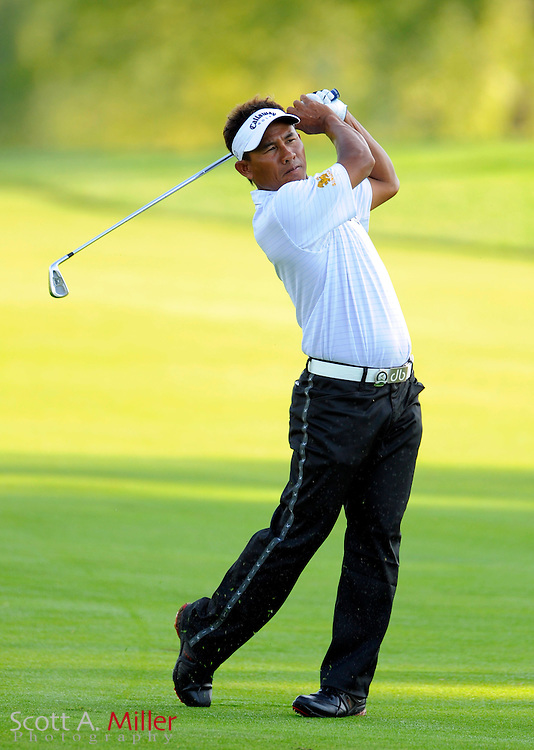 Aug 13, 2009; Chaska, MN, USA; Thongchai Jaidee hits his approach shot on the third hole during the first round of the 2009 PGA Championship at Hazeltine National Golf Club.  ©2009 Scott A. Miller