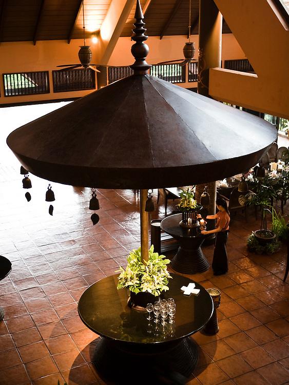 Dining room at Anantara Golden Triangle resort.