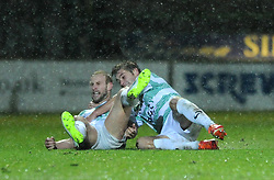 Yeovil Town's Simon Gillett celebrates his goal with Yeovil Town's Joe Edwards - Photo mandatory by-line: Dougie Allward/JMP - Mobile: 07966 386802 - 16/12/2014 - SPORT - football - Yeovil - Huish Park - Yeovil Town v Accrington Stanley - FA Cup