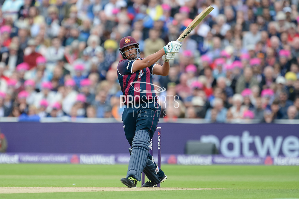 Rory Kleinveldt of Northants Steelbacks batting during the NatWest T20 Blast Semi Final match between Nottinghamshire County Cricket Club and Northamptonshire County Cricket Club at Edgbaston, Birmingham, United Kingdom on 20 August 2016. Photo by David Vokes.