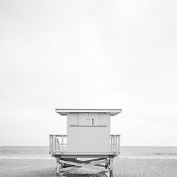 Malibu California Zuma Beach lifeguard tower #1 photo in black and white. Malibu is a coastal beach city in Southern California in the United States of America. Copyright ⓒ 2015 Paul Velgos with All Rights Reserved.