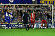 Steven Gerrard of Liverpool (right) scores the opening goal against AFC Wimbledon  during the FA Cup match at the Cherry Red Records Stadium, Kingston<br /> Picture by David Horn/Focus Images Ltd +44 7545 970036<br /> 05/01/2015