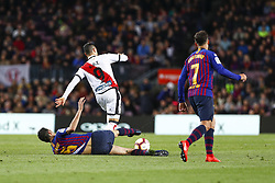 March 9, 2019 - Barcelona, Catalonia, Spain - FC Barcelona midfielder Sergio Busquets (5) and Rayo Vallecano forward Raul de Tomas (9) during the match FC Barcelona v Rayo Vallecano, for the round 27 of La Liga played at Camp Nou  on 9th March 2019 in Barcelona, Spain. (Credit Image: © Mikel Trigueros/NurPhoto via ZUMA Press)
