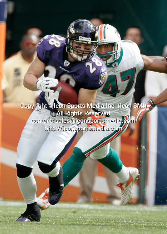 04 January 2009:  Baltimore Ravens Tom Zbikowski rushes  against the Miami Dolphins in the  AFC Wild Card playoff game at Dolphin Stadium in Miami, Florida.  The Raves defeated the Dolphins 27-9.