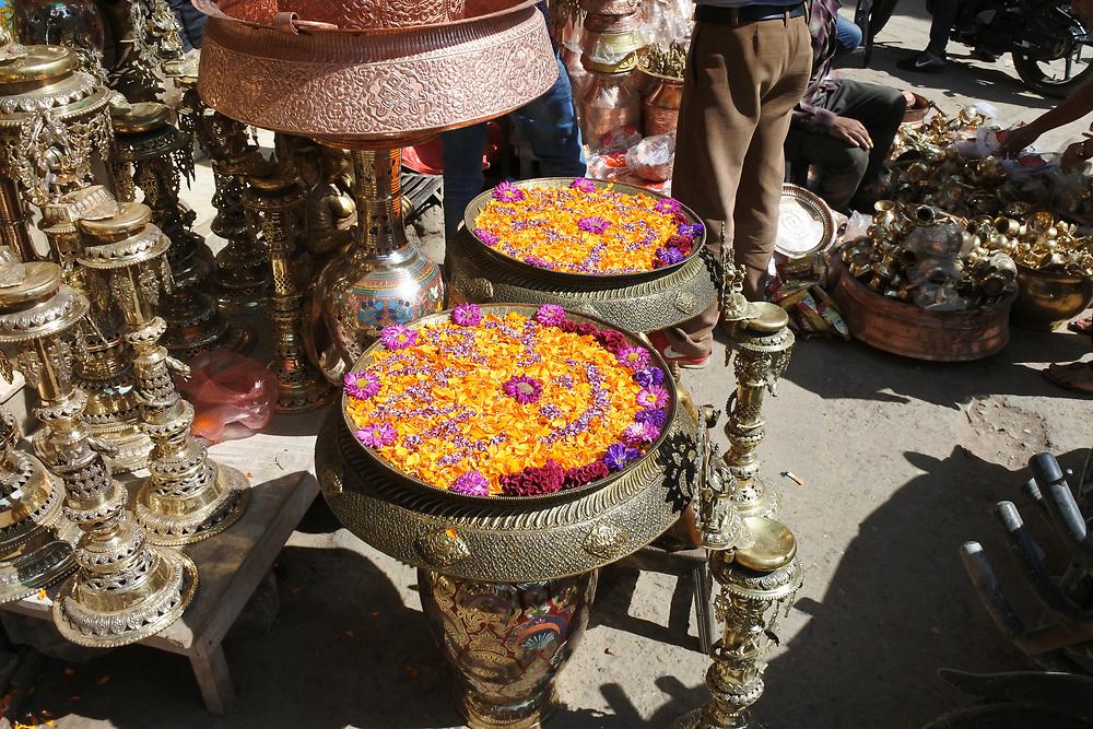 Flower displays for sale in the Kathmandu Market, Nepal