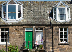 Exterior view of Colony style house in Stockbridge, Edinburgh, Scotland, UK