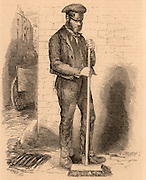 The Able-Bodied Pauper Street-Sweeper.  Pauper's were employed as street sweepers in London in return for support by the Parish.  Engraving from 'London Labour and the London Poor' by Henry Mayhew (London, 1861).