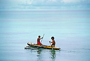 Men in Canoe, Tuvalu, South Pacific