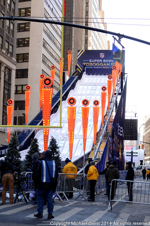 29 Jan 2014 NYC  The Toboggan slide from GMC is set and ready for customers at Superbowl boulevard 2014  Michael Glenn