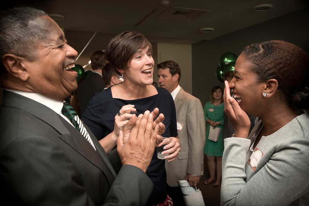 [From Left] President Roderick McDavis, Vice President of Student Affairs Jenny Hall-Jones, and Dani Parker share a laugh during the Ohio University Residential Housing Phase 1 opening ceremony event on Saturday, August 29, 2015 at the Living Learning Center on the Ohio University campus in Athens, Ohio.