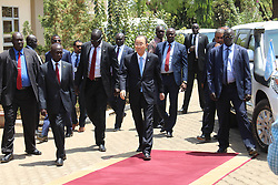 Feb 25, 2016 - Juba, South Sudan - UN Secretary General BAN KI-MOON arrived juba on 25 February 2016 , where he met the president of south sudan Salva Kiir, this visiting  as part of his tour in Eastern Africa.Ban Ki-moon has already visited Burundi and the Democratic Republic of the Congo. Speaking to media in Juba ,  THE Minister of Foreign Affairs and International Cooperation Dr Barnaba Marial Benjamin said Ki-moon has  encouraged for  the necessity of forming a national unity government between the government and the opposition at the earliest opportunity. (Credit Image: © Samir Bol/ZUMA Wire/ZUMAPRESS.com)
