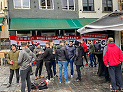 Manchester United fans congregate in Brugge centre ahead of the Europa League match between Club Brugge and Manchester United at Jan Breydel Stadion, Brugge, Belguim on 20 February 2020.