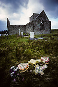 Mayo County. Burishoole Abbey ruins near Newport. Like others Irish monasteries has been destroyed by Cromwell's army.